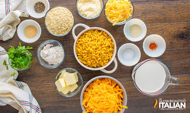 baked mac and cheese recipe ingredients in bowls