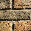 Water beads on brick surfaces after application of silane/siloxane brick water repellents.  The texture and color remains the same as untreated brick.
