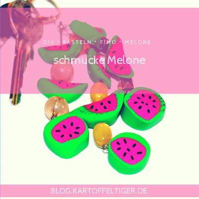 DIY * Basteln * FIMO * Melone * Schmuck * Anhänger * blog.kartoffeltiger.de