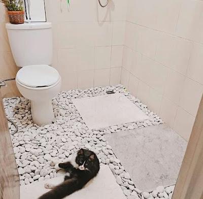 Lantai kamar mandi batu putih yang lucu