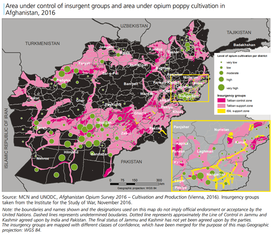 Area under control of insurgent groups and area under opium poppy cultivation in Afghanistan, 2016. Graphic: UNODC