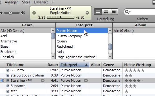 iTunes screenshot of purple motions tracks