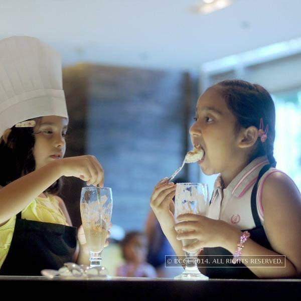 Kids during the chocolate making session hosted Ritu Beri at the Delhi Baking Company, JW MArriott, Aerocity.