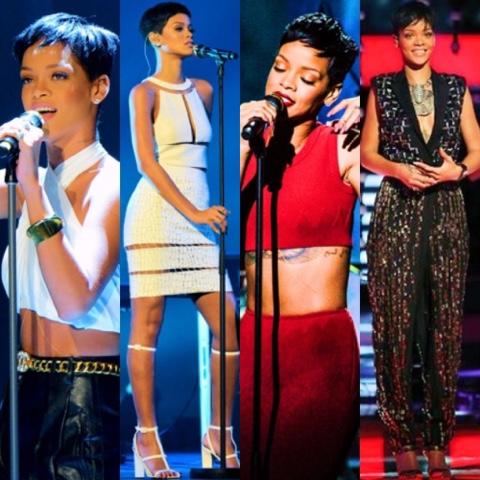 Rihanna in Spring 2013 Balmain, Azzedine Alaïa, Lanvin, Alexander Wang