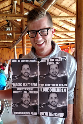 "Caleb, one of the Camp Counselors, surprised me by decorating himself with ""memes"" of some of my ""catch phrases."" I didn't even know that I had catch phrases! The campers loved it and I took it as a compliment. It was a compliment, right?"