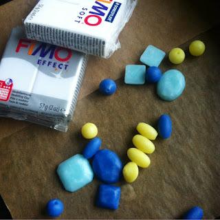 Perlen aus Fimo in den Farben Citrin, Achat und Aquamarin