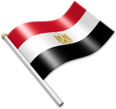 The Egyptian flag on a flagpole clipart image