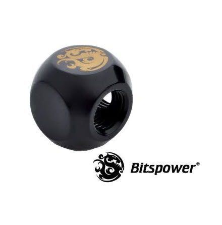 "Bitspower L-blokk, 1/4""BSPx2, Matt Black"
