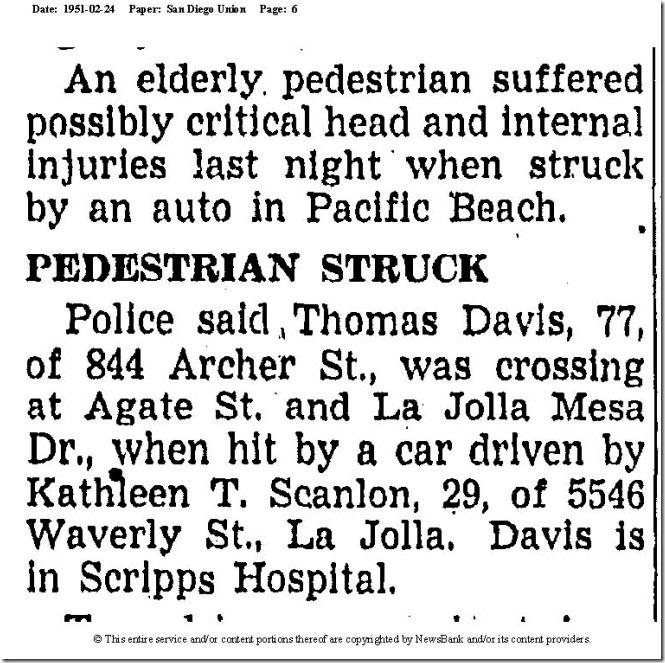 DAVIS_Thos struck by car