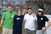 Mac, Lucy, Cameron & Meredith after cleaning out the crawl space.