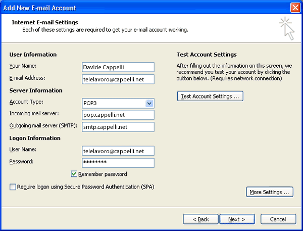 Esempio di configurazione account email su Ms. Outlook