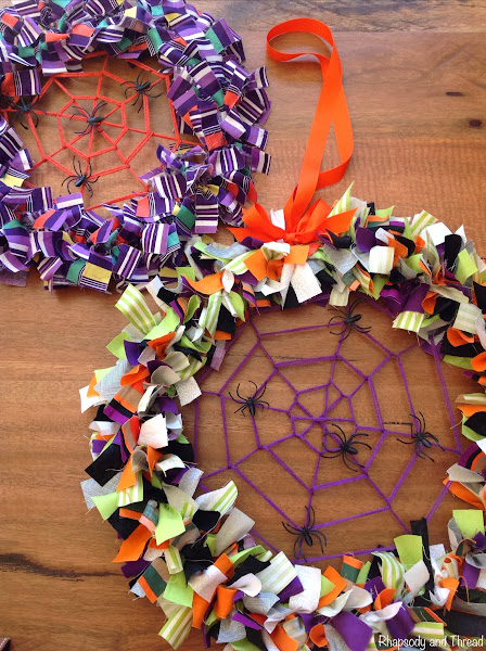 Spider Web Halloween Fabric Wreath Tutorial by Rhapsody and Thread