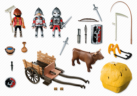 Contenido real de Playmobil® 6005 Caballeros del Halcón con Carruaje de Camuflaje