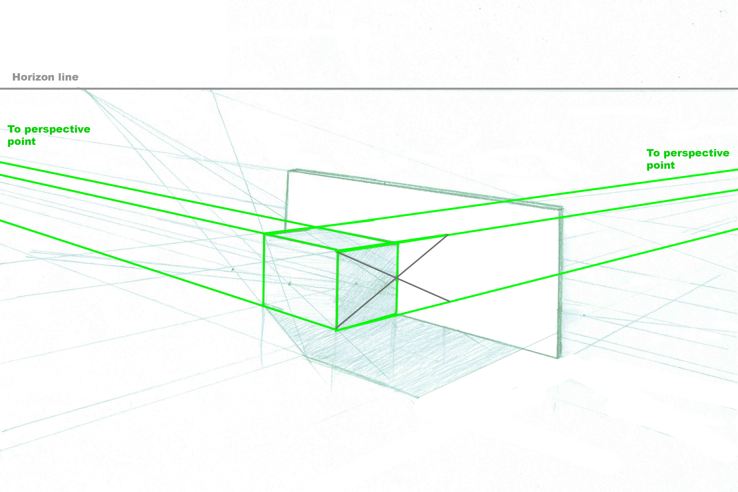 Reflections in perspective drawing art technique architecture draw diagonal lines across the center of the reflection point to determine where the reflected object edges are pooptronica