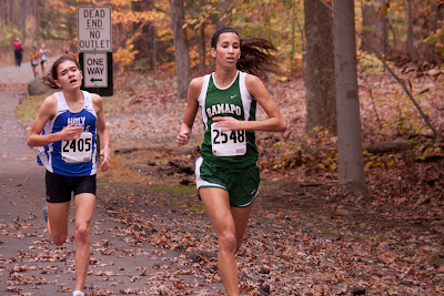 Eventual #5 finisher  #2405 Lydon Kersting and fourth place #2548 Deanna DiLandro of  Ramapo.