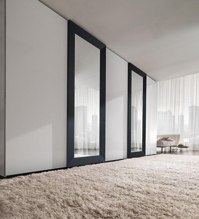 armadio scorrevole Mirror, ante a specchio con telaio in pelle o laccato, per camera da letto  .jpg