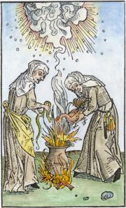 Woodcut Of Two Witches From Ulrich Molitor 1508, Emblems Related To Alchemy