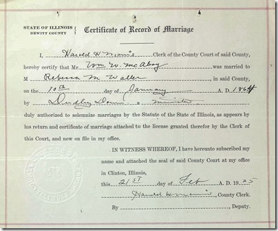 Waller McAboy Certificate of Record of Marriage