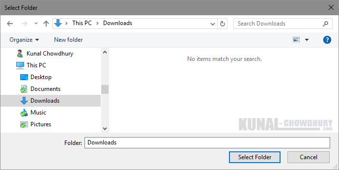 4. Select the default downloads folder of Microsoft Edge on Windows 10 (www.kunal-chowdhury.com)