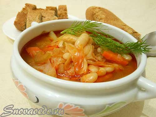 Рецепт супа с белой фасолью