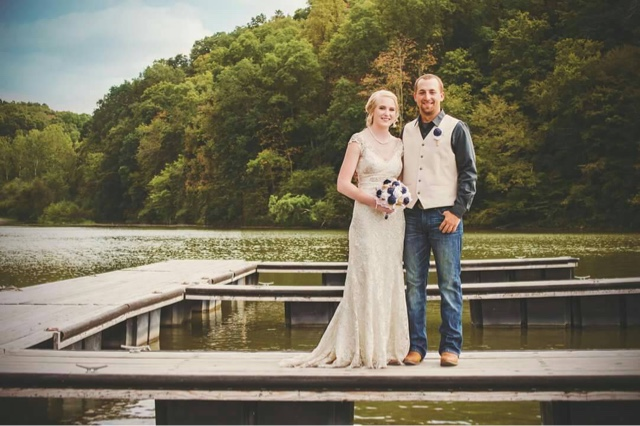 Navy burlap and lace wedding bouquets by Gypsy Farm Girl
