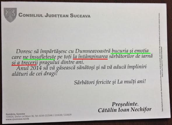Consiliul Judeţean Suceava - felicitare agramată - Cătălin Ioan Nechifor