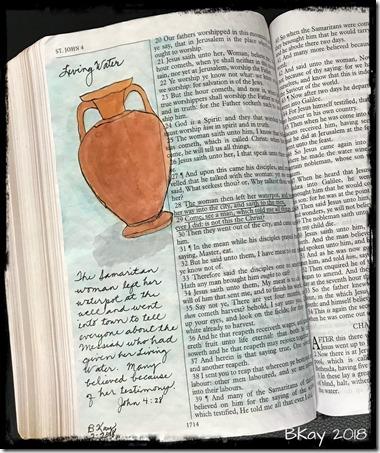 Bible Art John 4-28 Living Water KJV