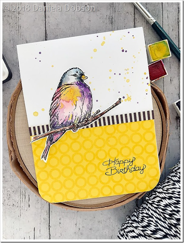Happy birthday Impression Obsession Baby Bird Set by Daniela Dobson