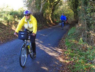 cycling along a dark lane
