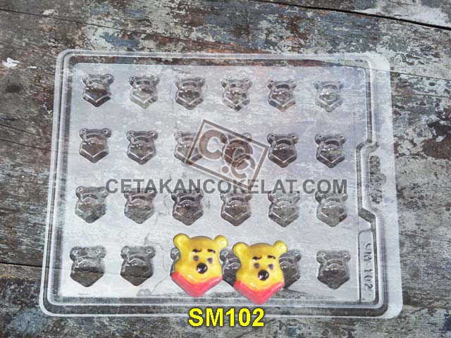 cetakan coklat cokelat SM102 mold mould praline karakter winnie the pooh chocolate #cetakancoklat