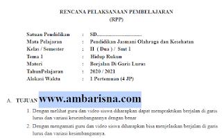 Download RPP 1 Lembar PJOK Kelas 2 SD Tema 1-4