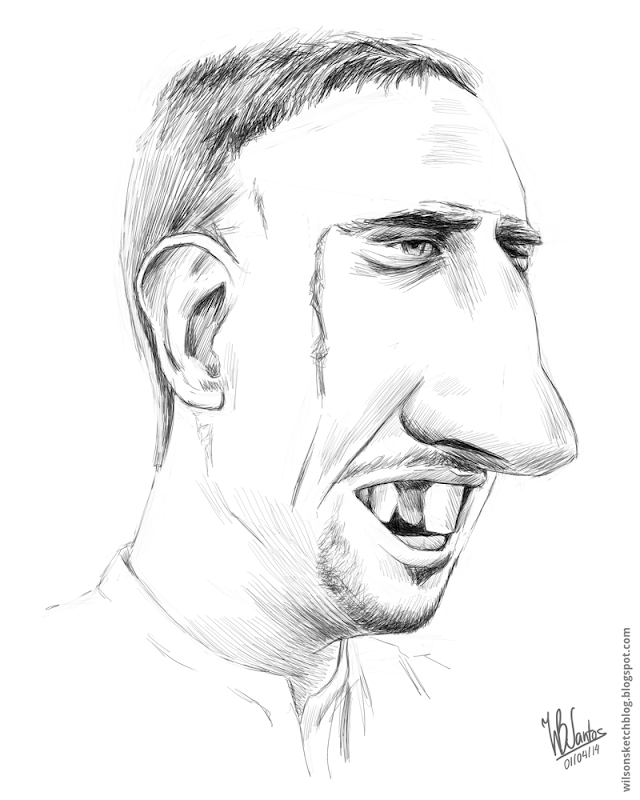 Sketch caricature of Franck Ribéry, using Krita.
