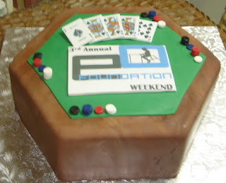 Custom fondant fundraiser poker table cake with chips, cards, and the E O foundation logo