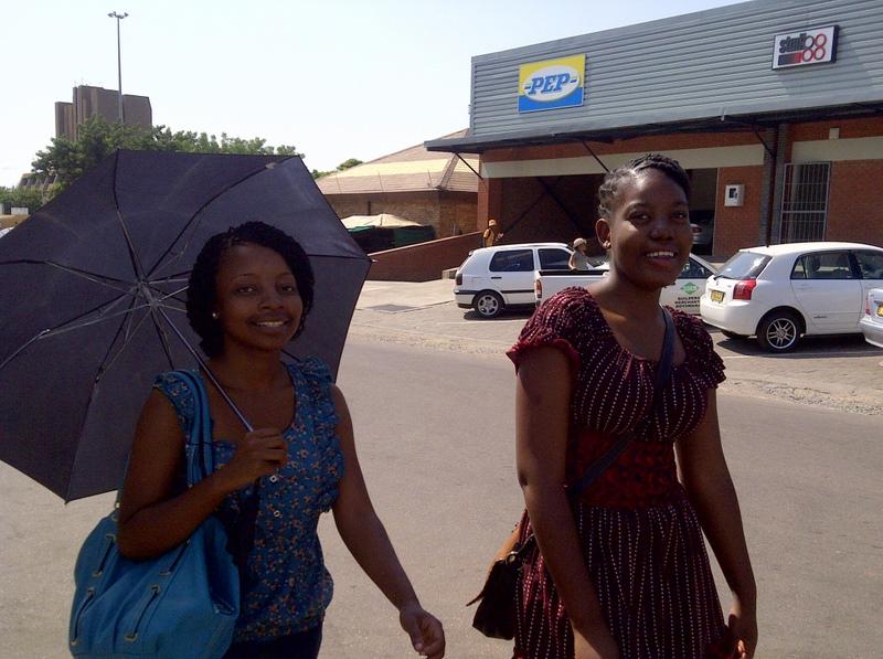 umbrellas near the bus rank in Gabs
