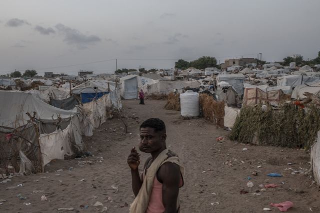 Displaced people at Meshqafah camp in Aden, September 2018. Photo: Andrew Renneisen / Getty Images