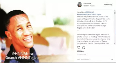 Davido and some other men were attempting to get Tagbo into Davido 's vehicle but .. ' – Kemi Olunloyo