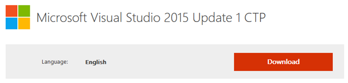 Download Micosoft Visual Studio 2015 Update 1 CTP