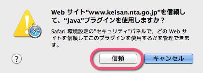 Javaプラグイン使用許可にて信頼をクリック