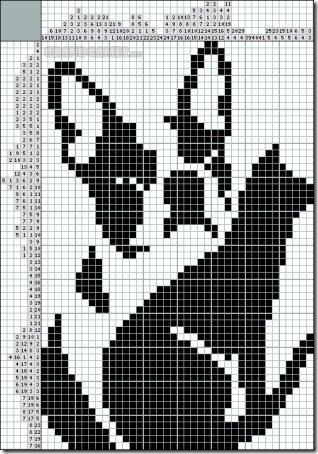 siluetas gatos punto de cruz monocromo  (3)