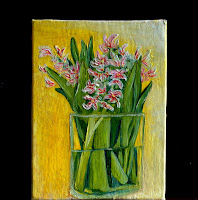 Hyacinths flowers in glass vase