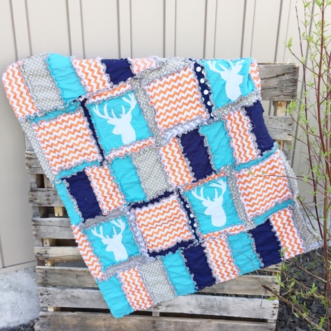 Orange Deer Silhouette Rag Quilt for Baby Boy Crib Bedding