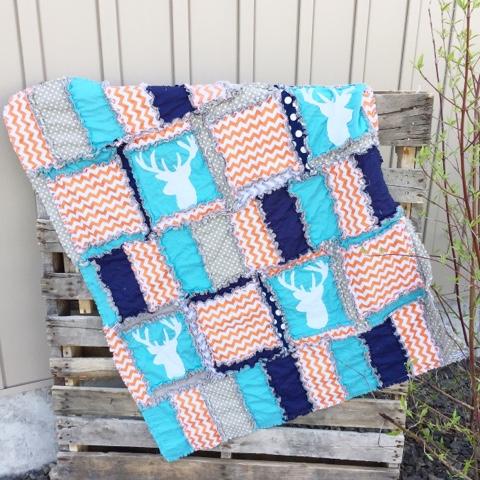 Orange Deer Silhouette Rag Quilt for Baby Boy Crib Bedding