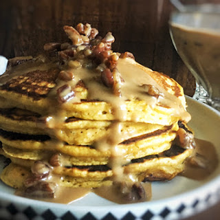 Fluffy Pumpkin Pancakes with Praline Sauce.