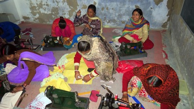 Women in sewing class 001