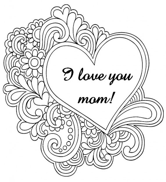 Love You Mom Coloring Pages