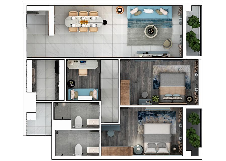 Phối cảnh 2D căn hộ 2 phòng ngủ DT: 98,7m2