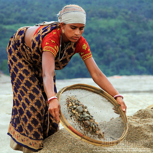 Collecting stone at Jaflong