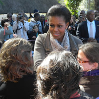 Michelle Obama greeting the PCV's