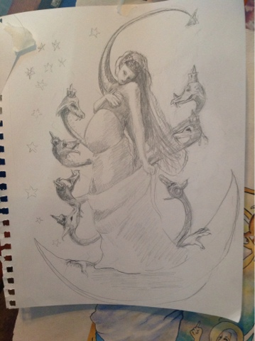 Rough Sketch for Woman and the Dragon