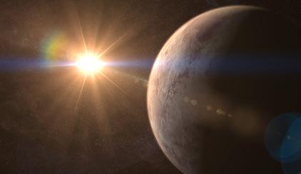 ilustração do exoplaneta GJ 536 b e sua estrela